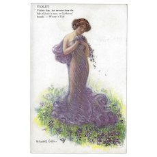 W. Haskell Coffin Postcard of Violet Flowers