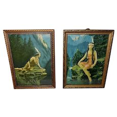 Pair of Small Vintage Indian Maiden Prints