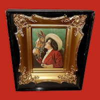 Vintage Lady with Horse in Shadow Box Frame with Wood and Gesso Insert