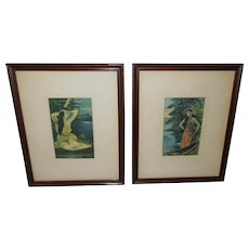 Pair of Vintage Matted Indian Maiden Prints