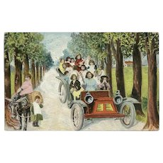 Vintage Fantasy Baby Postcard Driving Car