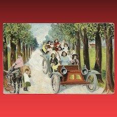 Vintage Fantasy Baby Postcard Driving Car