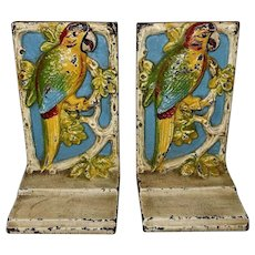 Cast Iron Polychrome Parrot Bookends