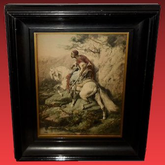 Shadow Box with Embossed Adolph Schreyer Print of Arabian on Horse