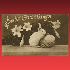 Sepia 1910 Easter Greetings Postcard with Bunny Rabbit
