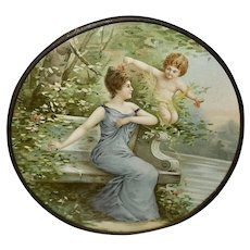 Chromolithograph Flue Cover of Cherub and Lady