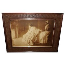 William Taylor 1901 Sepia Print of Two Women in Front of Fireplace