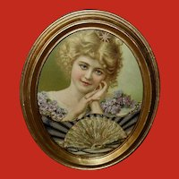 Small Oval Chromolithograph of Blonde Lady
