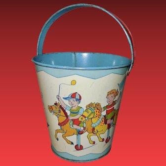 J. Chein 1950's Lithograph Tin Sand Pail Carnival Rides