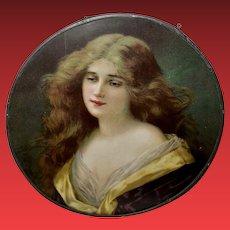 Chromolithograph Flue Cover of Art Nouveau Style Lady