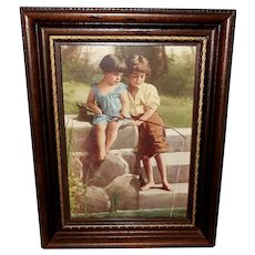 Small Vintage Print of Boy and Girl Fishing