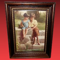 Small Vintage Print of Boy and Girl Fishing