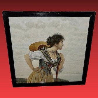 Vintage Engraving Print of Lady Working in Field