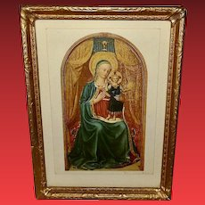Small Religious Print of Mary and Jesus by Fra Angelico