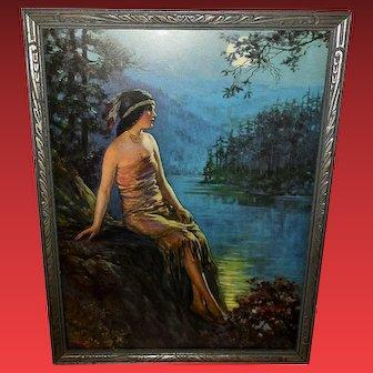 F.R. Harper Vintage Print of Indian Maiden on Ledge