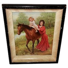 Small Vintage Calendar Print of Lady and Child with Horse