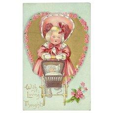 Raphael Tuck Embossed 1912 Valentine Postcard of Dainty Dimples