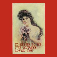 Vintage 1907 Postcard Titled Sweet Peas Lovely Lady and Flowers