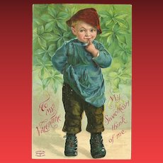 Embossed 1909 Valentine Postcard with Young Boy