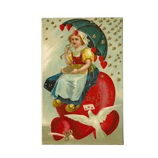 Vintage Embossed 1909 Valentine Postcard with Dutch Girl and Hearts