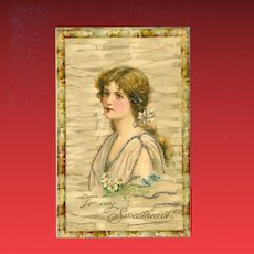Undivided Vintage Postcard of Brunette with Glitter to my Sweetheart