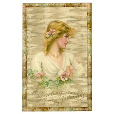 Undivided 1907 Valentine Postcard with Blonde Woman