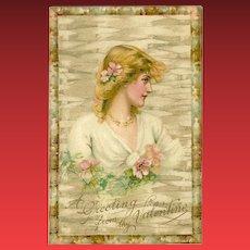 Undivided 1907 Valentine Postcard with Blonde Woman
