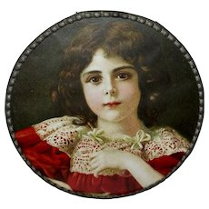 Chromolithograph Flue Cover of Young Dark Haired Girl