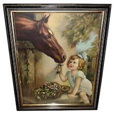 Irene Patten Vintage Calendar Print of Girl and Horse