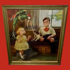 Vintage Calendar Print of Children with Parrot and Puppy Dog