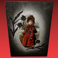 Ornate Wood Frame with Floral Attachments Young Girl in Red