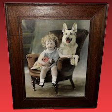 Large Calendar Print of Young Girl with Doll and German Shepherd Dog