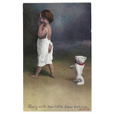 Bamforth England 1907 Postcard of Mary with Bear Behind
