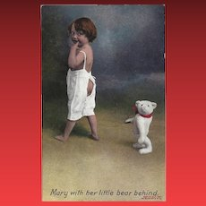 Bamforth England 1907 Postcard of Mary with Bear Behind