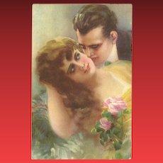 Vintage Romantic German Postcard of Man and Woman