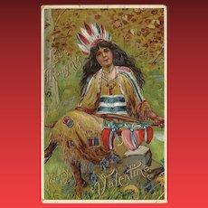 Embossed 1913 Indian Maiden German Valentine Postcard