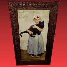 Paul Hoecker Vintage Print of Girl with Cat