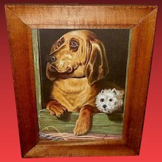 Landseer Chromolithograph of Bloodhound and Terrier Dogs