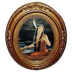 Ornate Oval Frame with Vintage Print Indian Maiden