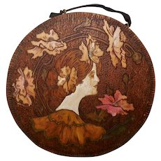 Round Wood Pyrography of Lady Surrounded by Flowers