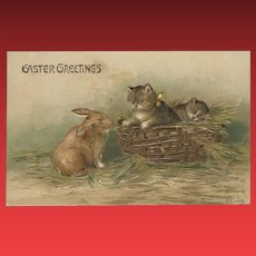 Embossed German Easter Postcard with Kittens and Rabbit