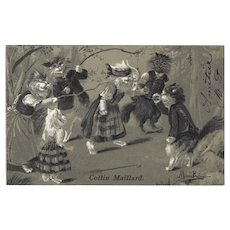Maurice Boulanger Undivided Postcard of Cats Playing Game