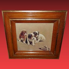 Vintage Print of Three Puppies and Mouse Trap