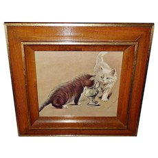 Fannie Moody Vintage Print of Two Playful Cats