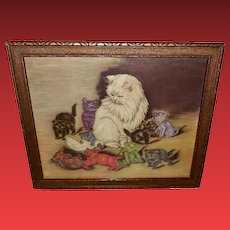 Carter's Ink Vintage Advertising Print of Cat with Nine Kittens 1 of 2
