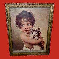 Bruno Piglhein Vintage Print of Girl with Cat