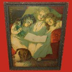 Chromolithograph of Three Sleeping Girls with Saint Bernard Dog