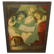 Chromolithograph of Three Sleeping Girls with Saint Bernard Dog