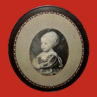 Vintage Print of Baby Stuart in Oval Frame