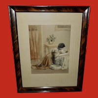 C.F. Lent Embossed Hand Painted Print of Mother and Baby